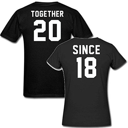Together Since 2018 t Shirt Couple Matching Set His & Her Custom t Shirts (Women 2XL-Men 2XL, Black)