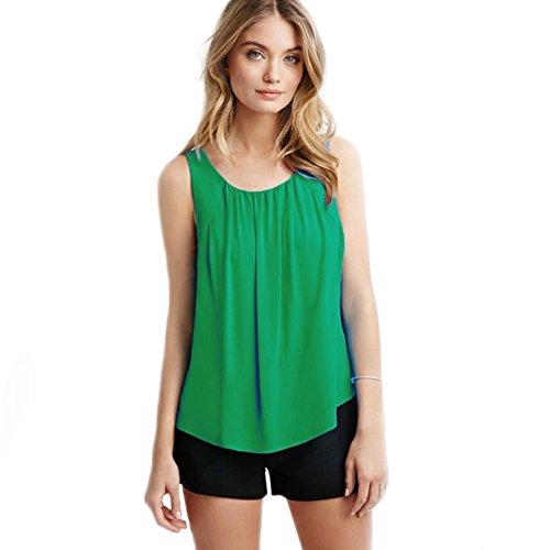 Verano de las mujeres de BaronHong más la gasa del tamaño de la gasa del halter cuello sin mangas Tank Tops Verde