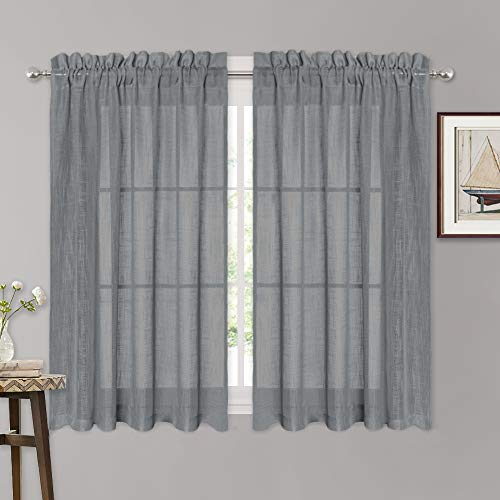 RYB HOME Linen Textured Sheer Curtains 45 inch Length for Kitche, Natural Linen Blended Voile Drapes for Bathroom Small Window, W 52 x L 45 inches Per Panel, Set of 2