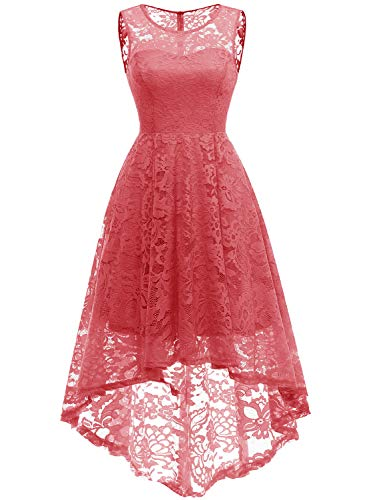 MUADRESS 6006 Vintage Floral Lace Sleeveless Hi-Lo Cocktail Formal Swing Dress M Coral