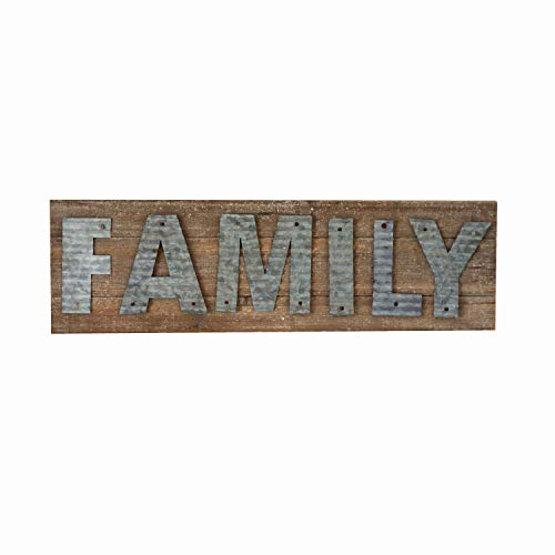 Parisloft Family Reclaimed Barn Wood Plank with Galvanized Metal Word Wall Decor Plaque Sign 24 x 7 x 1.2 Inches(Family) (Family Wall Metal Art)