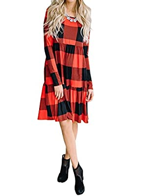 Bigyonger Womens Tshirt Dresses Loose Buffalo Plaid Pleated Round Neck Party Dress