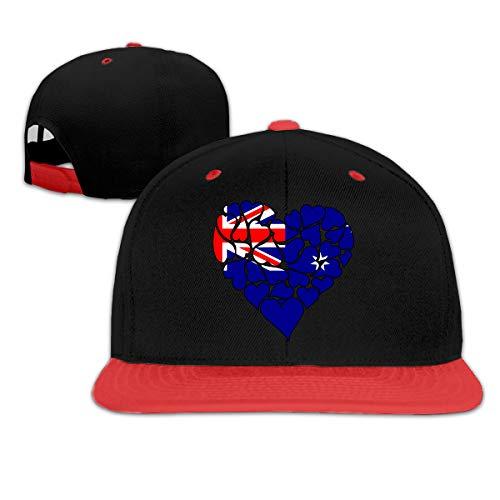 (Australia Flag Heart Love Women Men Hip Hop Flat Bill Baseball Hats, Contrast Color Snapback Cap)