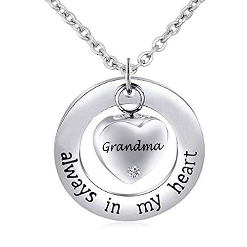 CharmSStory Mom/Dad/Grandma Urn Necklace Cremation Jewelry for Ashes ~ Always in My Heart ~ Memorial Keepsake Necklace Pendant (Grandma)