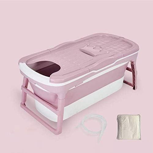 ホームポータブル大人バスタブ、温度検知プラグ/多機能携帯電話ブラケットと厚み付けアダルトプラスチック折りたたみSPA,ピンク,B