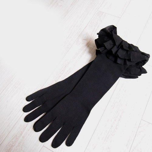 (ラルフローレン) Ralph Lauren ブラックレーベル シルク フリル ロンググローブ 手袋 / BLACK [並行輸入品]