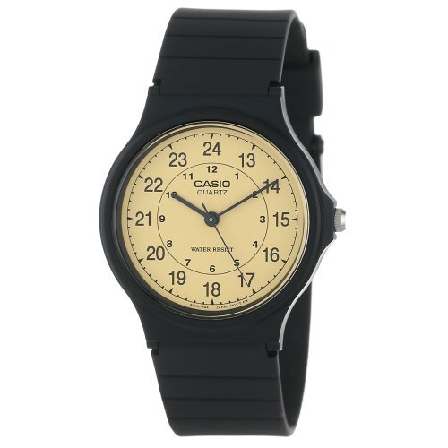 Casio Men's Classic Round Analog Watch, with Military/Standard Time 3-Hand Analog Feature, and Water Resistant, Gold Face with Classic Round Design and Black Numbers, and Resin Band Casio Gold Bracelet