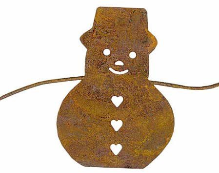 Factory Direct Craft Set of 3-6ft Primitive Rusty Tin Snowman Garland-18 Ft. Total - 5' Snowmen