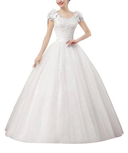 Women's Double Shoulder Organza Wedding Dresses Sweetheart Flowers Lace Floor-Length Ball Gowns For Bride White Size (Organza Sweetheart Floor)