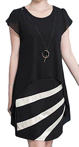 Shirt Sleeve Twinset Splice Cromoncent T Black Dresses Faux O Women's Casual Short Neck qSnnFwfvt