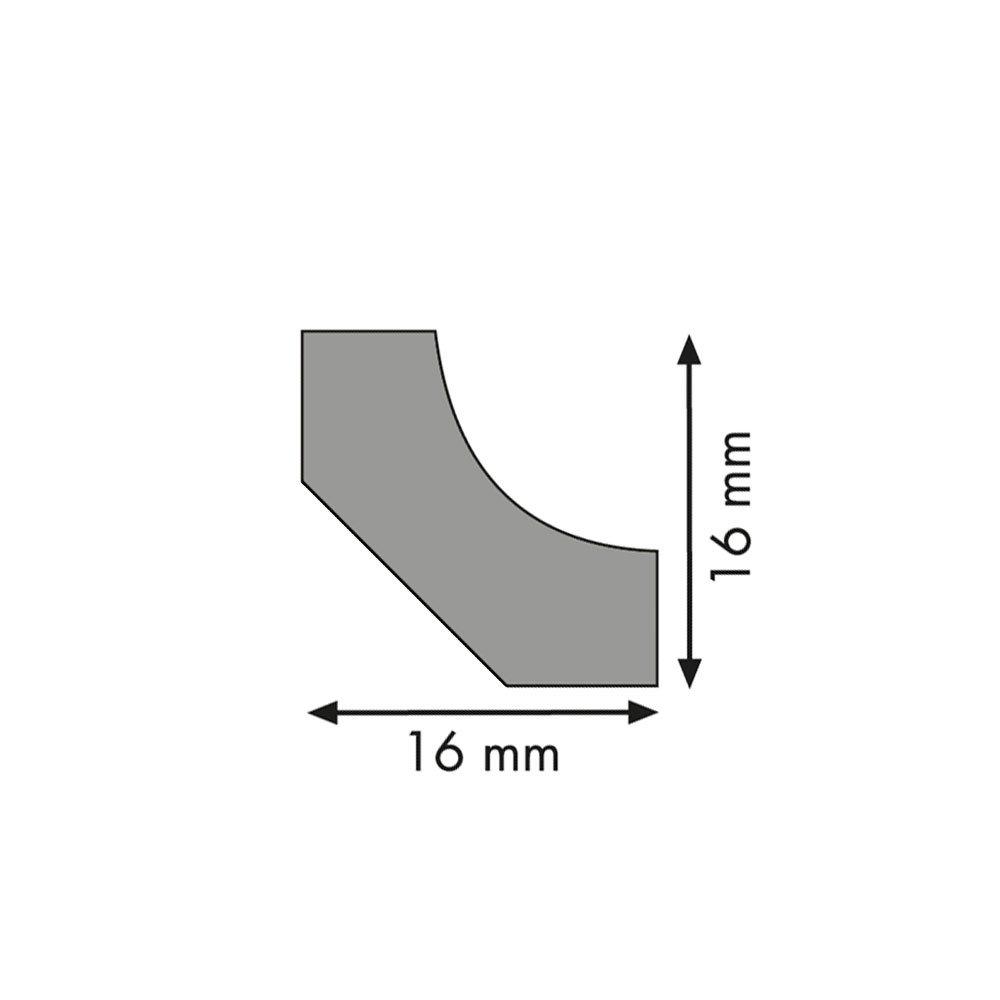 Hohlkehlleiste Abschlussleiste Abdeckleiste aus MDF in Esche schwarz 2600 x 16 x 16 mm