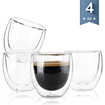 Sweese 4301 Espresso Cups - 4 Ounce, Double-Wall Insulated Glass - Set of 4