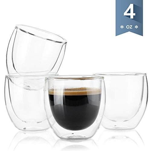 Sweese 4301 Espresso Cups - 4 Ounce, Double-Wall Insulated Glass - Set of - Shotglasses Logo Custom