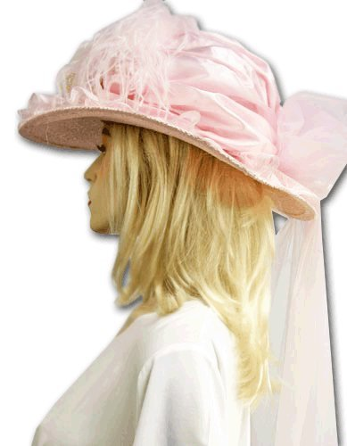 Blooming Roses Pink Victorian Touring Hat in Satin