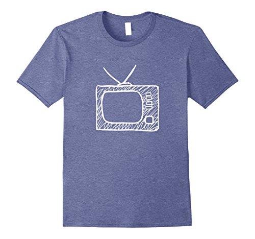 Mens Old Analog TV T-Shirt Watch Television Set Tele Fun Antique XL Heather Blue -