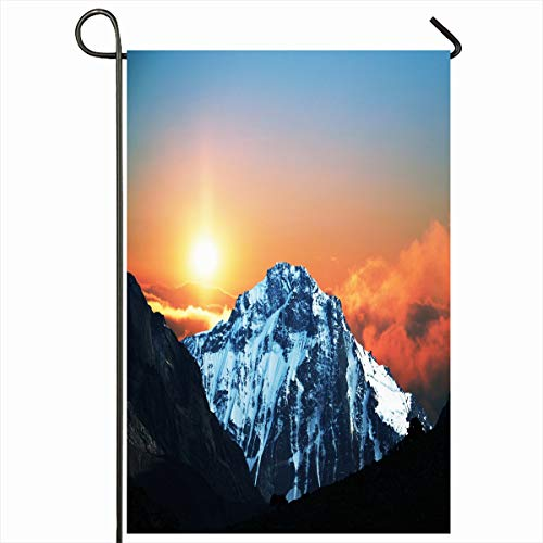 Ahawoso Garden Flag 12x18 Inches Climbing Mountains Peak On Sunrise Nature Summit Asia Parks Cold Coldness Crest Extreme Design Target Decorative Seasonal Double Sided Home House Outdoor Yard Sign