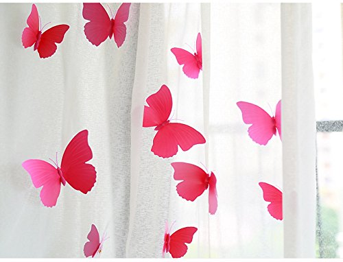 FLY SPRAY Creative 24pcs Vivid Pink Butterfly Mural Decor Removable Wall Stickers with Adhesive Decals Nursery Decoration 3D Crafts