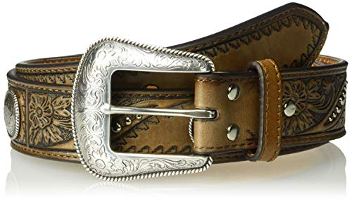 Nocona Belt Co. Men's Nocona Angle Floral and Geo Embose Circle Concho Belt, brown, 34
