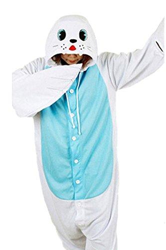 WOTOGOLD Animal Cosplay Costume Seal Unisex Adult Sea Dog Pajamas White (Sea Dog Costume)
