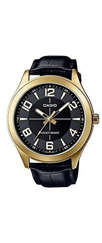 Casio-MTP-VX01GL-1B-Mens-Gold-Tone-Leather-Band-Big-Case-Black-Dial-Watch