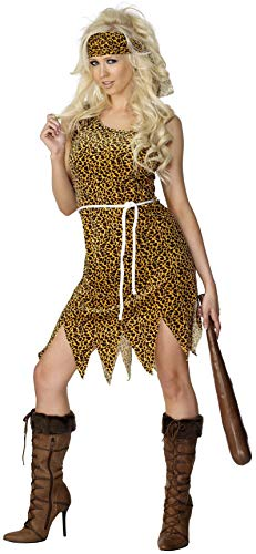 Smiffys Women's Cavewoman Costume, Dress, Headband and Belt, Caveman, Serious Fun, Size 6-8, 22452