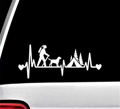 - Girl Hiker Camper with Dog Camping Tent Heartbeat Lifeline Decal Sticker for Car Window 8.0 Inch BG 334