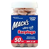 Mack's Ultra Soft Foam Earplugs, 50 Pair - 32dB Highest NRR, Comfortable ear plugs for sleeping, snoring, work, travel and loud events - Pack of 3
