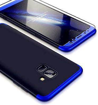 JINCHANGWU Compatible con Funda Samsung Galaxy A8 Plus 2018, Carcasa Samsung Galaxy A8 Plus 2018 con [ Cristal Templado] Carcasa 3 en 1 Caso, Azul y ...