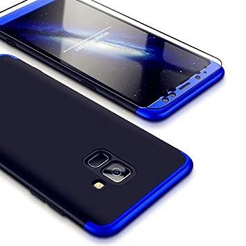 Funda Samsung Galaxy A8 2018, Carcasa Samsung Galaxy A8 2018 con [ Cristal Templado] 3 en 1 Desmontable 360 Grados Anti-Arañazos Protectora Caso, Azul ...