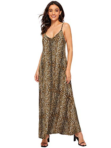 Verdusa Women's Casual Spaghetti Strap Flowy Long Beach Maxi Dress Leopard Print XS