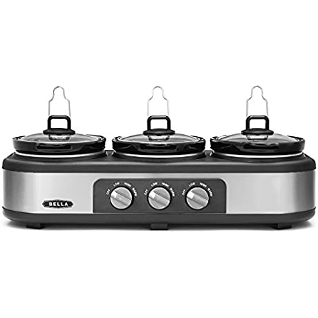 BELLA Triple Slow Cooker And Buffet Server 3 X1 5 QT Manual Stainless Steel