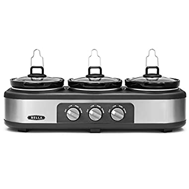 BELLA Triple Slow Cooker and Buffet Server, 3 x2.5 QT Manual Stainless Steel