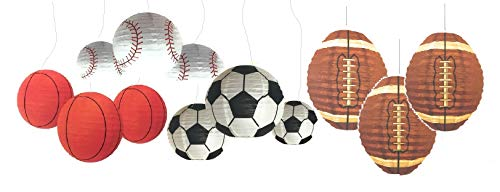 Paper Lanterns Party Decorations and Supplies Assorted (Sports-12