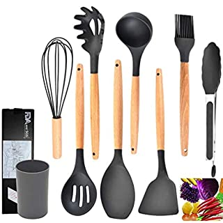 Silicone Kitchen Utensil Set 8 PCS Wooden Handles Cooking Tool Turner Tongs Spatula Spoon Kitchen Gadgets Set (Grey)