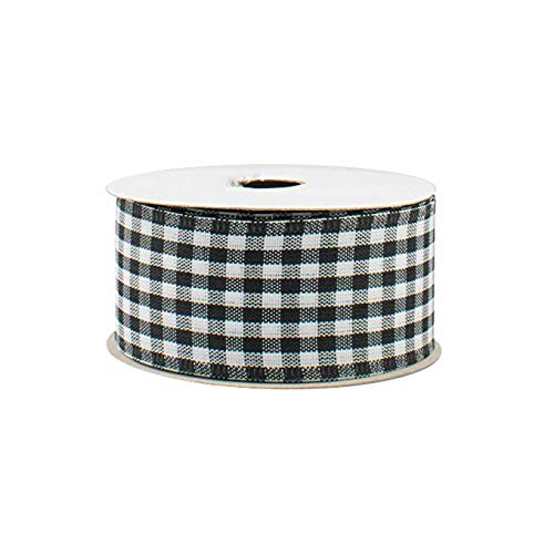 Black White Gingham Wired Ribbon - 1 1/2