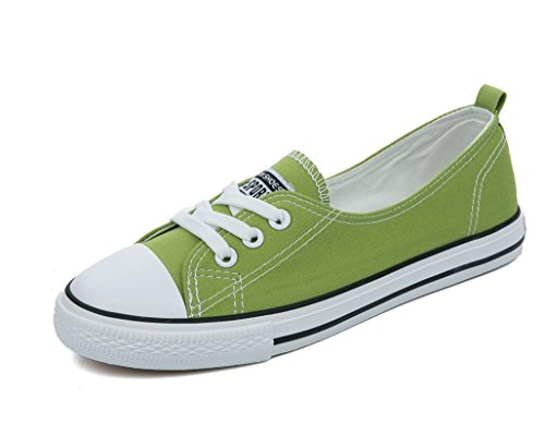 SHFANG Señora Zapatos Permeabilidad Sencillo Ocio Zapatos de lona Movimiento Estudiantes Verano Escuela de Compras Cuatro colores Green