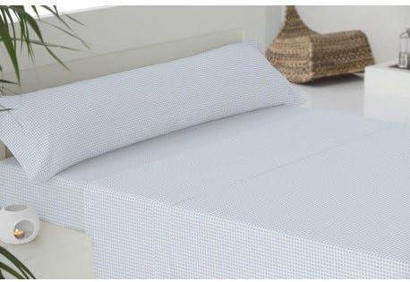 Juego de sábanas algodón 150 VICHY CELESTE: Amazon.es: Hogar