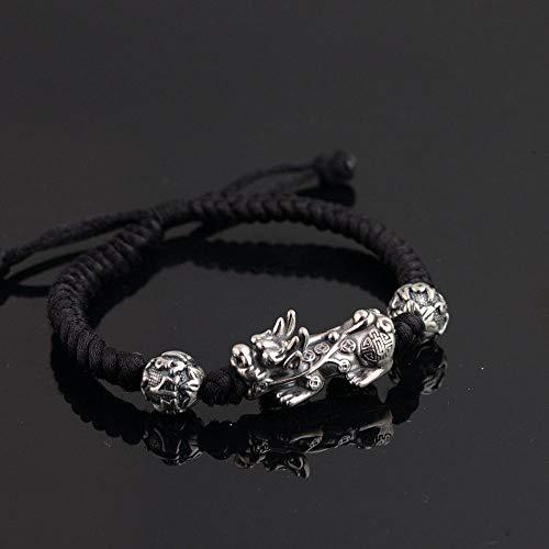 - Gabcus Pure 925 Silver Pixiu Bracelet 18.5cm Adjustable Size Classic Rope Chain S925 Thai Silver Beads Bracelets for Men Jewelry