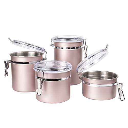 (Creative Home 50259 4-Piece Stainless Steel Canister, Container Set with Air Tight Lid, and Locking Clamp, Rose Gold)