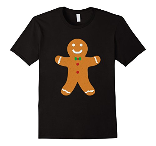 Mens Gingerbread Cookie for Christmas Holiday Gift T-Shirt Large Black