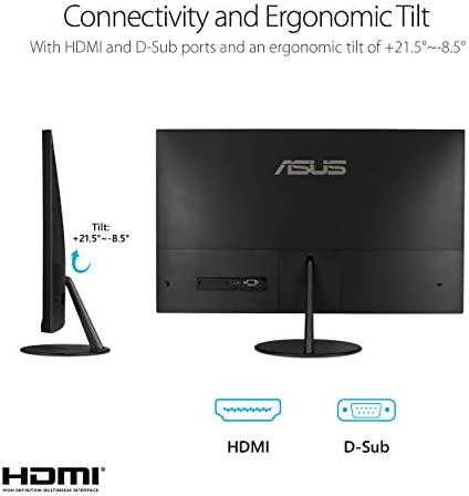 "ASUS VL279HE 27"" Eye Care Monitor, 1080P Full HD (1920 x 1080), IPS, 75Hz, Adaptive-Sync, FreeSync, HDMI D-Sub, Frameless, Slim, Wall Mountable, Flicker Free and Blue Light Filter,BLACK"