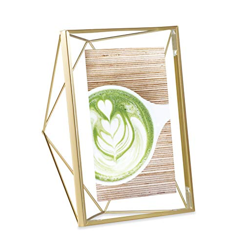 (Umbra Prisma Picture Frame, 5x7 Photo Display for Desk or Wall, Brass)