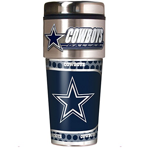 NFL Dallas Cowboys Metallic Travel Tumbler, Stainless Steel and Black Vinyl, 16-Ounce