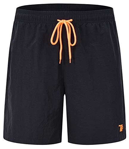 TBMPOY Men's Swim Trunks Quick Dry Beach Shorts with Pockets(Black,US -