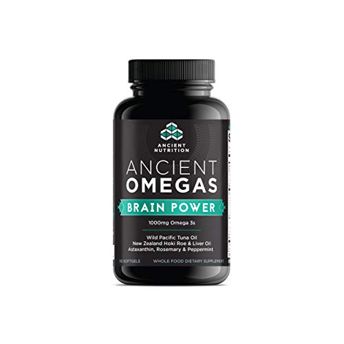 Ancient Nutrition Ancient Omegas Brain Power - ALA, DHA, EPA, ETA from Wild Caught Fish - 90 Capsules