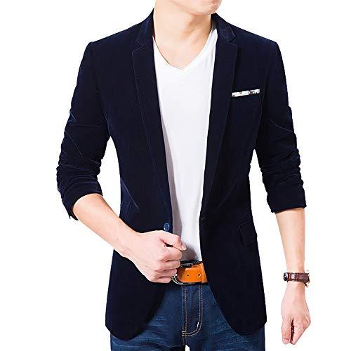 (Men's Blazer Jacket Corduroy Sport Coat Smart Formal Dinner Cotton Jacket Slim Fit Two Button Notch Lapel Coat Dark Blue)