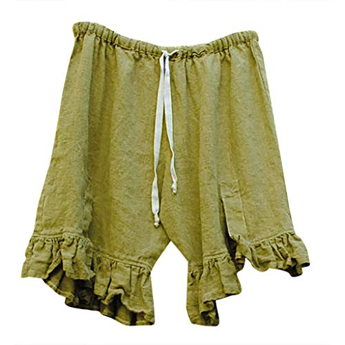 JOFOW Shorts for Women Solid Ruffle Hem Strappy Tie Drawstring Pajamas Bottom High Waist Loose A Line Comfy Casual Mini Pants (S,Green)