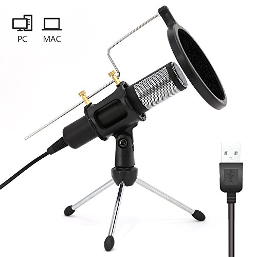 Home Studio USB Condenser Microphone with Mic Stand dual-layer acoustic popfilter for PC Recording,Live,Podcasting, Online Chatting, Mini Desktop MIC Stand by suylngla