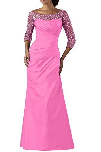 4 in abito maniche 3 e da taffeta da Rosa a Ivydressing ballo elegante sera donna Vestito pailettes da con lungo tulle 6w4xyq0pUv