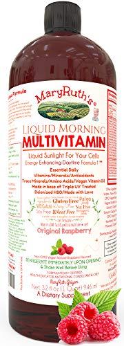 Morning Liquid Vitamins by MaryRuth (Raspberry) Vegan Multivitamin A B C D3 E Trace Minerals & Amino Acids for Energy, Hair, Skin & Nails for Men & Women   Paleo   Gluten Free   0 Sugar   0 Fat   32oz
